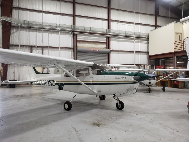 Cessna 172RG inside of a hangar