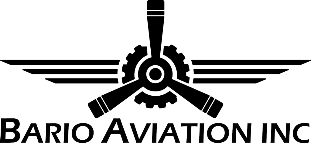 "Propeller and wings logo with ""Bario Aviation Inc."" written under it"